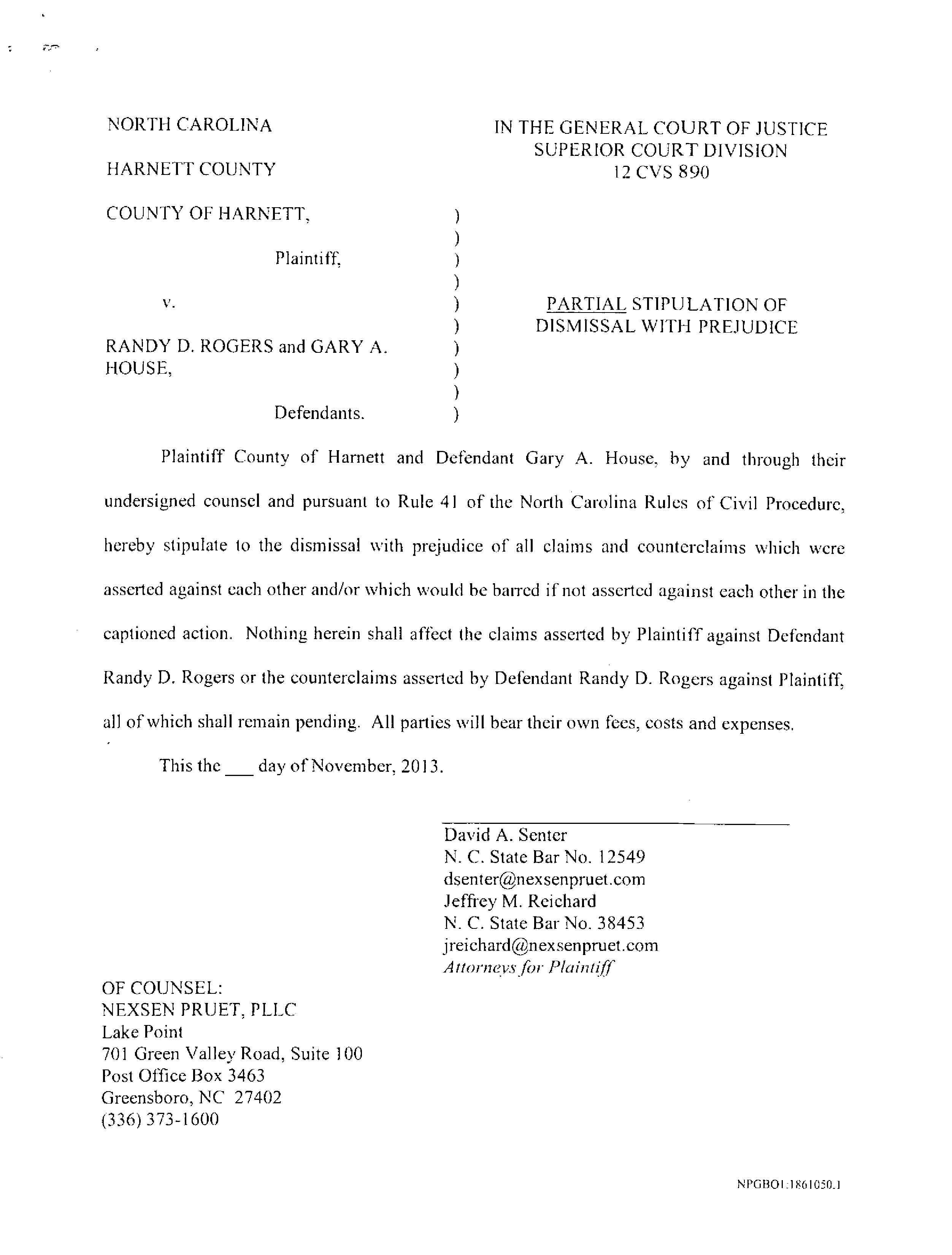 Lawsuit against gary house settlement released harnett dispatch 131118 settlement agreement c5 platinumwayz