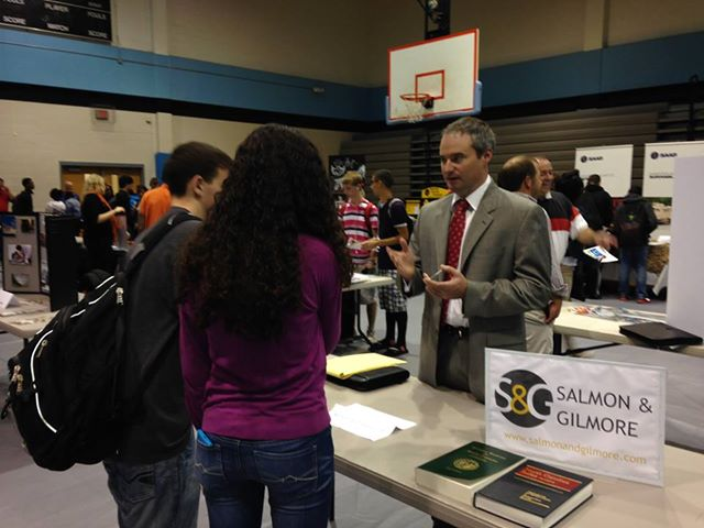 Attorney Brad Salmon talking with Students