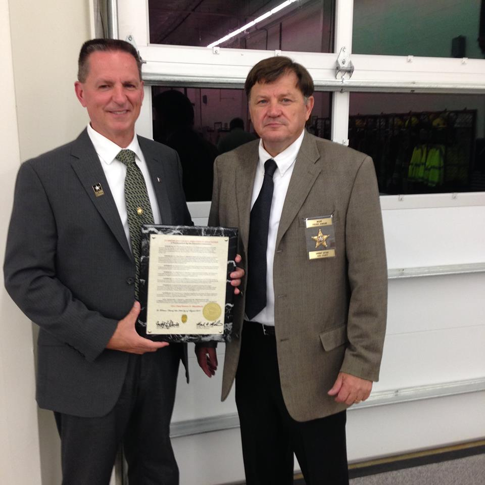 Steve Blackburn with Fire Chief Freddy L. Johnson Sr. President of the Cumberland County Fire Chief's Association