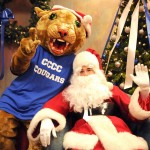 Central Carolina Community College mascot Charlee Cougar and Santa Claus welcome guests for the CCCC Foundation's Christmas Tree Lighting event on Dec. 4 at the college's Lee County Campus